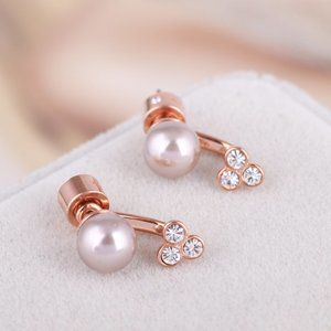 Michael Kors Diamond-Studded Pearl Earrings
